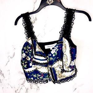 Elliatt baroque style lace crop top button up
